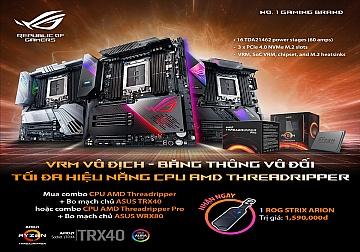 Mua combo CPU AMD Threadripper cùng bo mạch chủ ASUS TRX40 hoặc CPU AMD Threadripper Pro cùng bo mạch chủ ASUS WRX80 nhận ROG Strix Arion